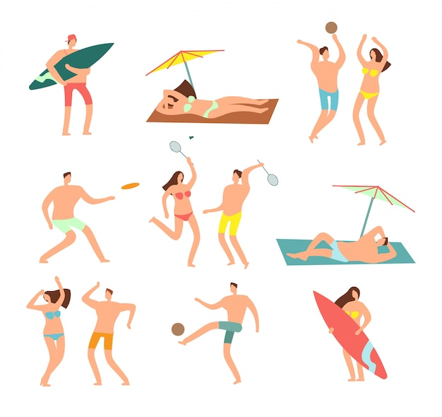 People in swimsuits in sea beach vecation. relaxing woman and man  characters