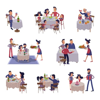 People at table flat cartoon illustrations kit. men and women having dinner, eating together. family supper, friends meeting. ready to use 2d comic character set templates for commercial, animation