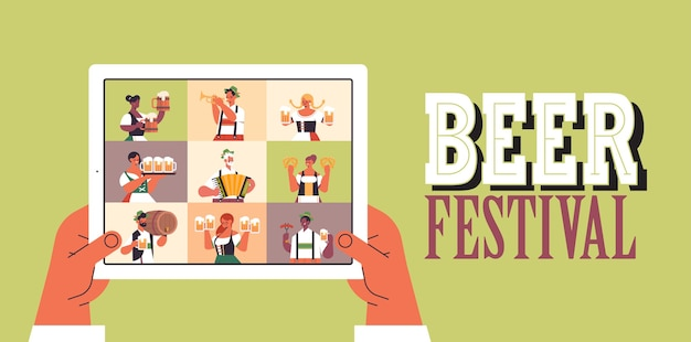 People on tablet screen celebrating oktoberfest party beer festival
