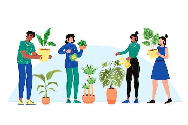 식물 평면 디자인을 돌보는 사람들