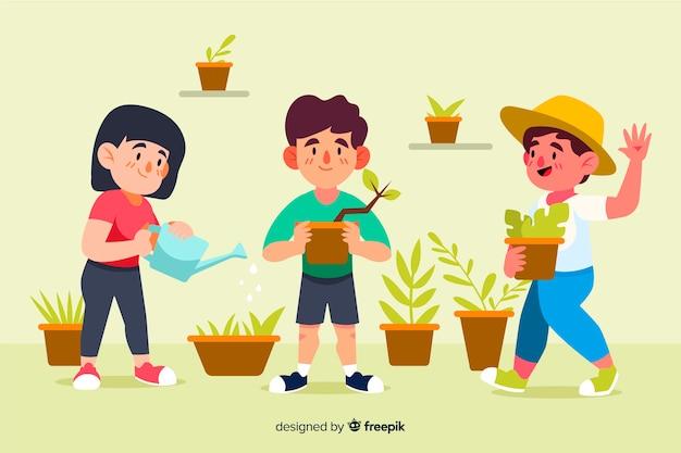 Люди заботятся о растениях