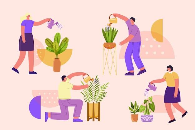 People taking care of plants flat illustration