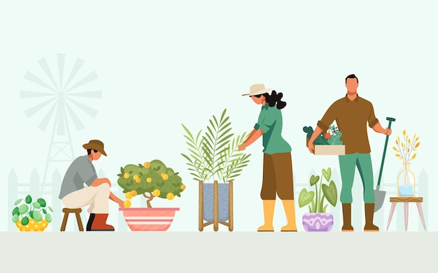 People taking care of plants