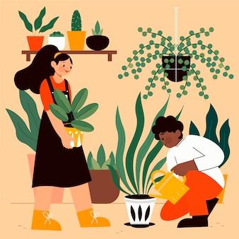 Persone che si prendono cura delle piante