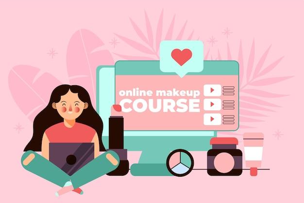 コースを受講し、オンラインで学習している人