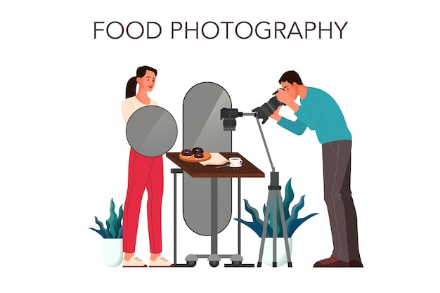 People taking photo of food with professional camera in studio.  concept
