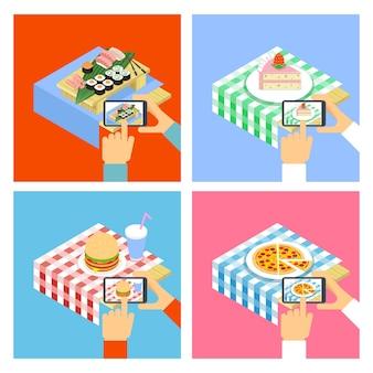 スマートフォンで食べ物の写真を撮る人。イラストセット