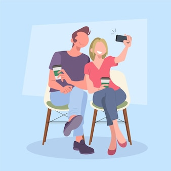 People taking a photo together Free Vector
