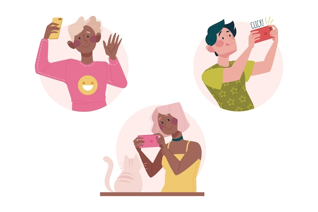 People taking photos with smartphone illustrated