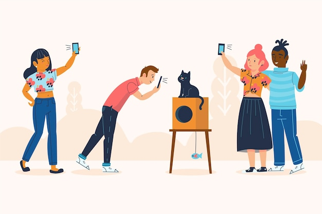 People taking photos with smartphone