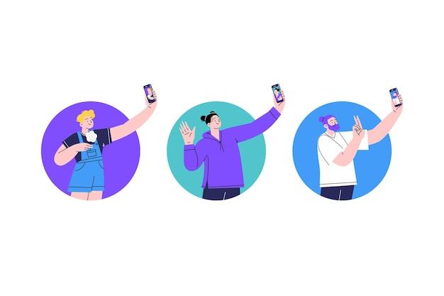 スマートフォンで写真を撮る人