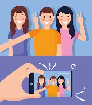 People taking selfie