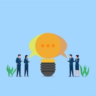 Люди разговаривают и создают идею, образуя метафору обсуждения. бизнес плоской концепции иллюстрации.