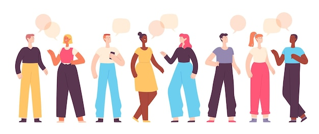 People talk. friends chat, ask and answer. group of characters communicate with speech bubbles. flat man and woman conversation vector set. illuatration character communication and conversation group