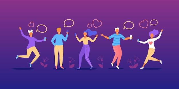 人々はチャットで話しますメッセージバブルベクトルイラスト幸せな男性女性の友人キャラクターによって通信します...