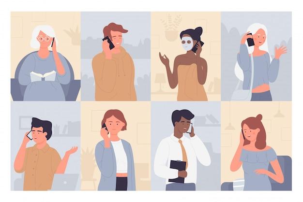 Люди говорят по телефону иллюстрации. персонажи мультфильмов плоские мужчина и женщина разговаривают с семьей, друзьями или деловым партнером, разговаривают по мобильному телефону или собирают мобильный диалог