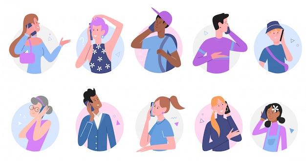 Люди говорят на телефоне иллюстрации набора. коллекция мультяшных счастливых говорящих персонажей с молодым мужчиной и женщиной в дружеской или семейной телефонной связи, звонок на мобильный телефон на белом