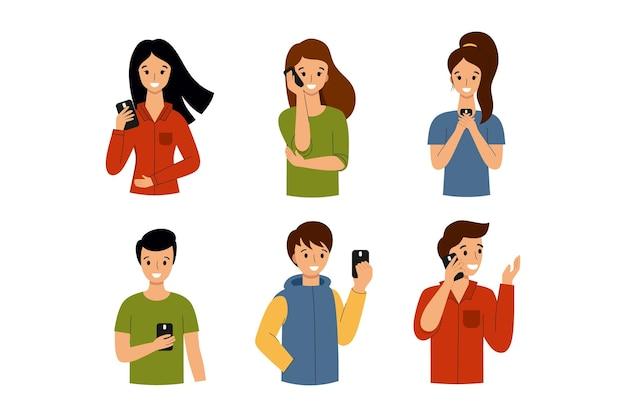 Люди разговаривают по смартфонам и отправляют сообщения. мужчина и женщина с телефоном в руках.