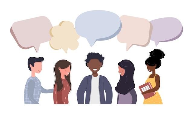 사람들은 서로 대화합니다. 실업가 소셜 네트워크에 대해 설명합니다. 친구는 대화 연설 거품과 채팅. 스타일에 현대적인 그림입니다.