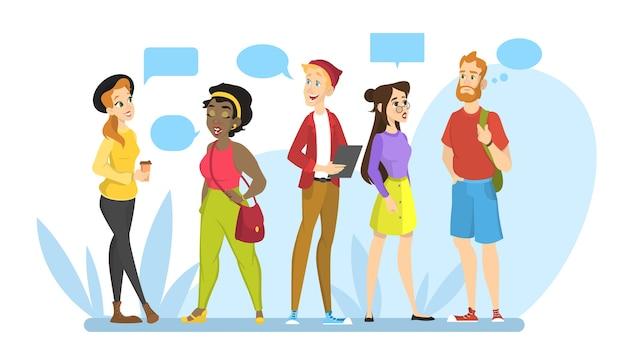 사람들은 그룹으로 서로 이야기합니다. 의사 소통과 대화에 대한 아이디어. 연설 거품에 메시지. 친구와 채팅. 만화 스타일의 그림