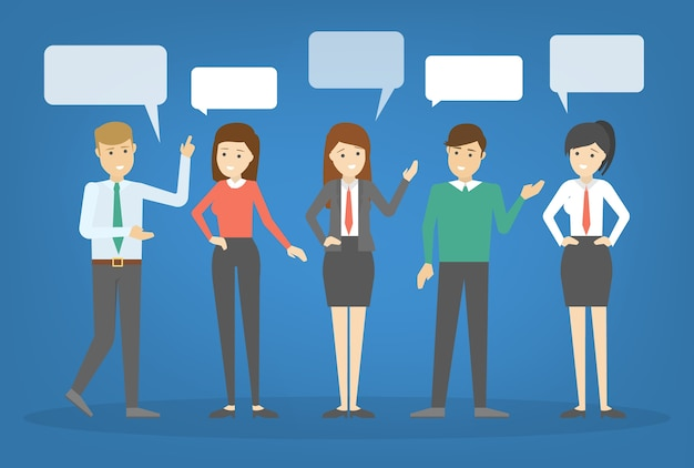 People talk using speech bubble. group of business people speak and chatting. communication with person.    illustration
