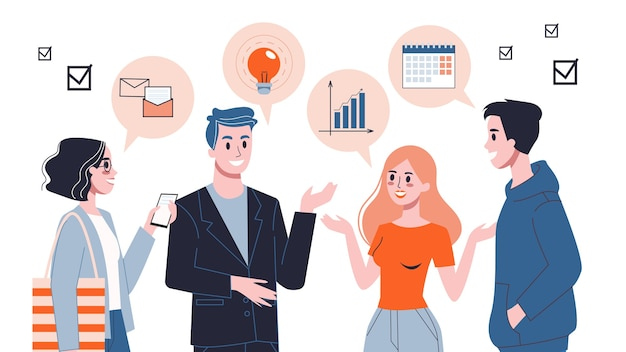사람들은 말풍선을 사용하여 이야기합니다. 채팅하는 사업 사람들의 그룹입니다. 팀 커뮤니케이션, 팀 작업 아이디어 및 솔루션 도달. 사람과의 의사 소통.