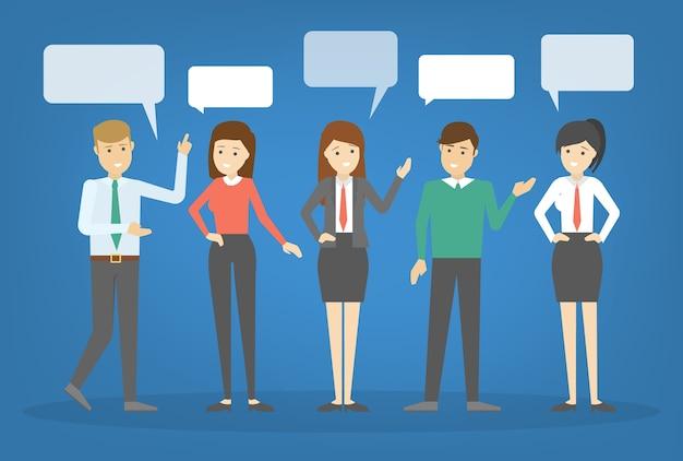 사람들은 말풍선을 사용하여 이야기합니다. 사업 사람들의 그룹은 말하고 채팅합니다. 사람과의 의사 소통. 삽화