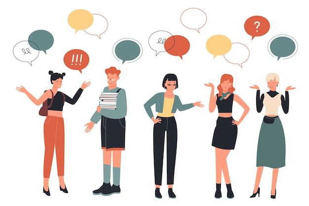 사람들은 머리 친화적 인 또는 비즈니스 작업 통신 세트 위에 메시지 거품으로 이야기합니다.