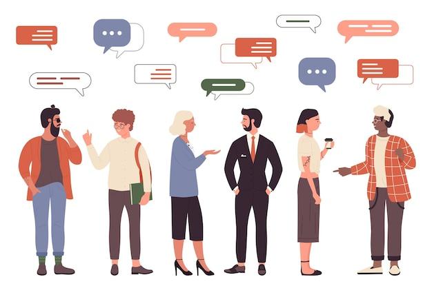 人々は頭に優しいまたはビジネスワークコミュニケーションセットの上のメッセージバブルと話します