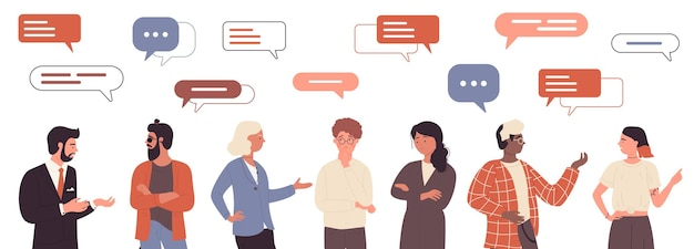 Люди разговаривают с пузырями сообщений над головой, дружелюбно или деловым рабочим общением