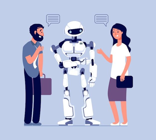Люди разговаривают с роботом. технологии помогают клиентам, бизнес помогают поддерживать. посланник чат-бота, диалог мужчина женщина с концепцией вектора бота. иллюстрация общения робота и человека