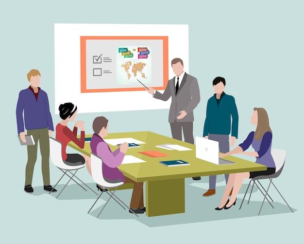 オフィスのコンピューターで話したり働いたりしている人々。ノートパソコンタブレットを使用してテーブルの周りのスタッフ。オフィスの会議室。等尺性のビジネス人々。