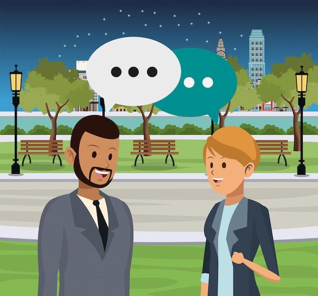 People talking at city