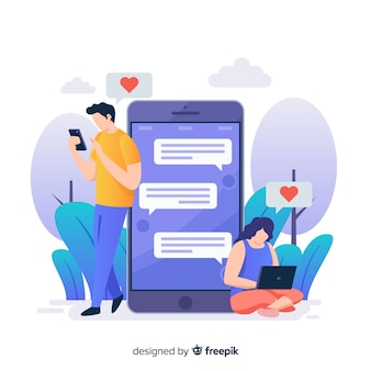 People talking on dating app concept illustration