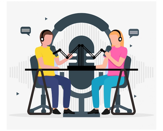 People talking and recording padcast flat design
