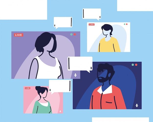 Люди разговаривают друг с другом на экране компьютера, проводят видеозвонки, работают дома