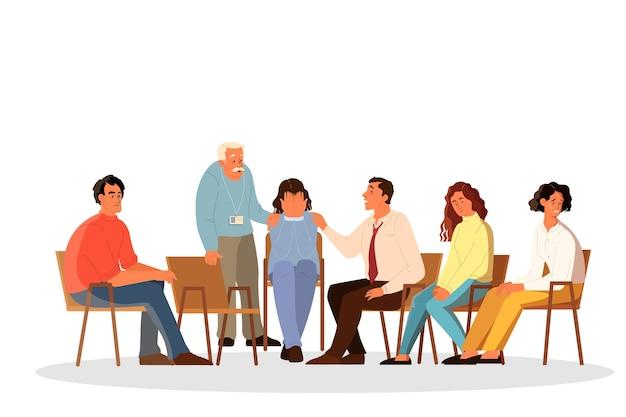 心理学者と話している人々。問題と感情について話し、専門的な治療を受ける人々。匿名クラブ。メンタルヘルスサポート。白い背景の上の図