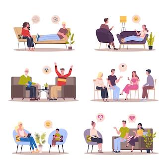 심리학자 세트와 이야기하는 사람들. 흰색 배경에 그림