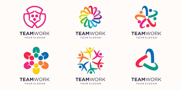 People team or community logo with colorful design. simple logo design template