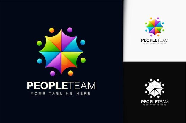 그라디언트가 있는 사람들 팀 로고 디자인