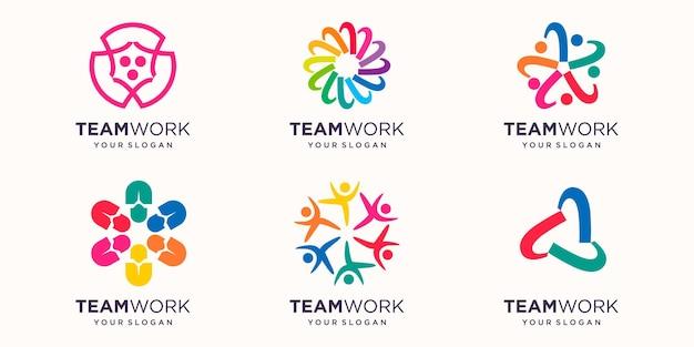 カラフルなデザインの人々のチームやコミュニティのロゴ。シンプルなロゴデザインテンプレート