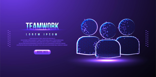People, team, teamwork, business low poly wireframe, polygonal design