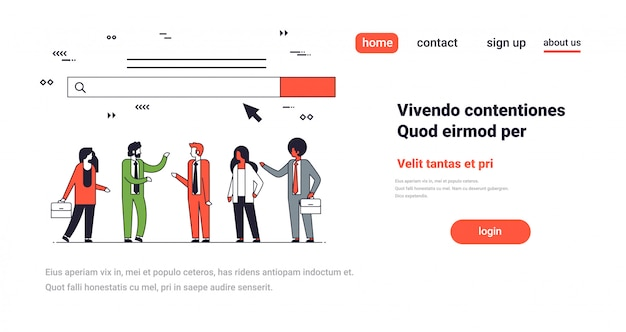 People team over web search bar online internet browsing concept website development horizontal