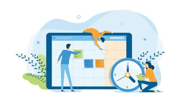 Команда людей, работающих для планирования бизнес-графика