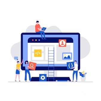 Команда людей, работающих вместе в концепции веб-индустрии. современные иллюстрации в плоском стиле.