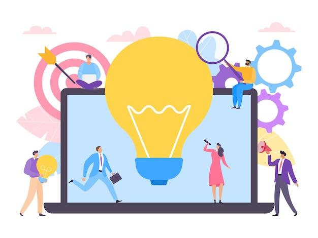 Коллективная работа людей над иллюстрацией творческой бизнес-идеи