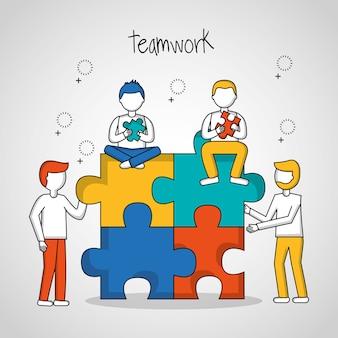 People teamwork boys sitting  puzzle progress