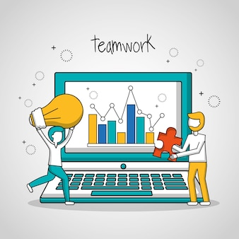 People teamwork computer screen statistics
