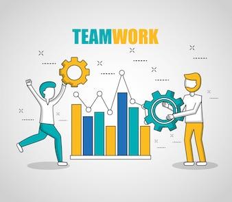People teamwork statistics boys holding tool running