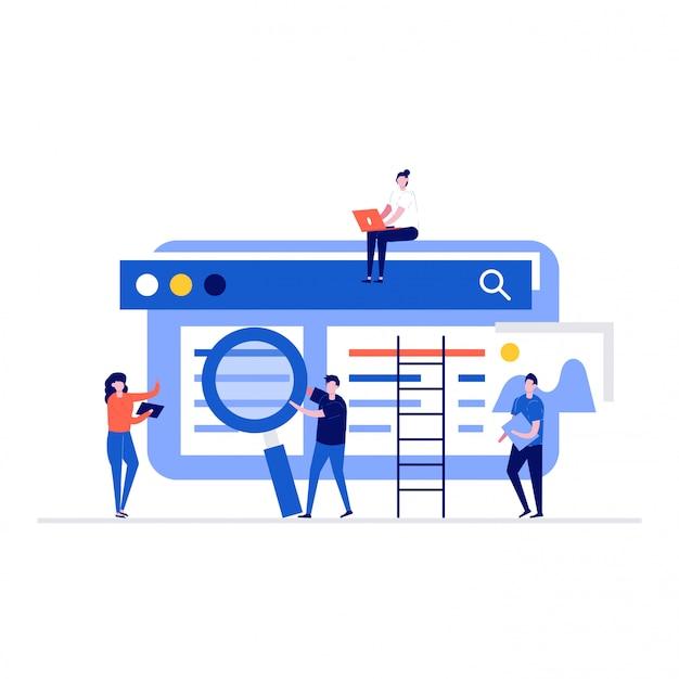 Люди работают вместе над концепцией оптимизации seo с персонажами, веб-сайтами.